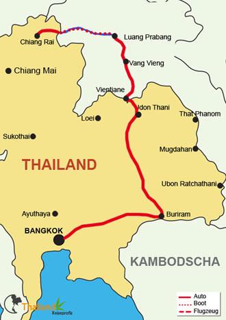 Ihre Reiseroute der Thailand Laos Rundreise