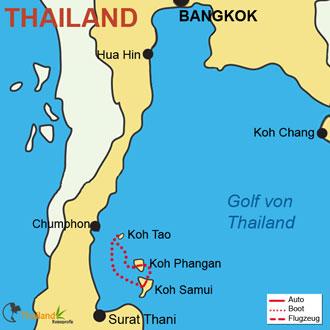 Ihre Reiseroute mit Koh Samui, Koh-Phangan und Koh-Tao