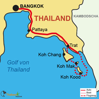 Ihre Reiseroute mit Koh Chang, Koh Mak & Koh Kood