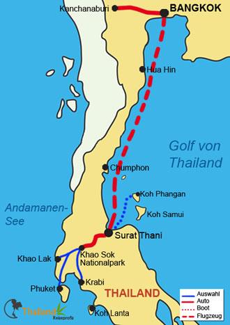 Reiseroute Ihres Familienurlaub in Thailand