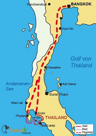 Reiseverlauf Ihrer Hochzeitsreise in Thailand
