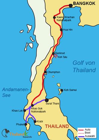 Karte des Reiseverlaufs auf das Geheime Inselparadies Koh Talu