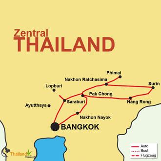 Ihre Reiseroute zum Elefanten Festival nach Surin