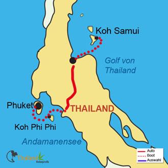 Tolle Reiseroute von Phuket über Koh Phi Phi nach Koh-Samui