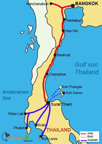 Ihre Reise von Bangkok in den Süden