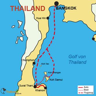 Ihre Reiseroute von Bangkok über Khanom nach Koh-Samui