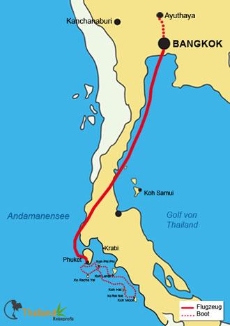 Ihr Reiseverlauf der Luxusreise in Thailand