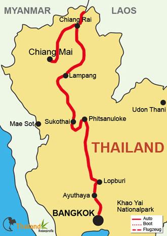Ihre Route von Bangkok nach Chiang Mai