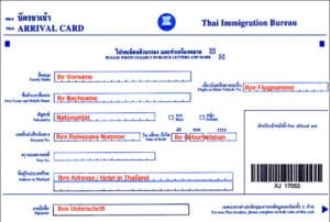 WDie Arrival Card