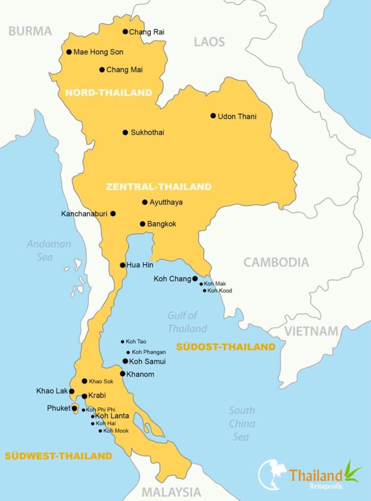 Thailand Karte mit Sehenswürdigkeiten - @pavalena