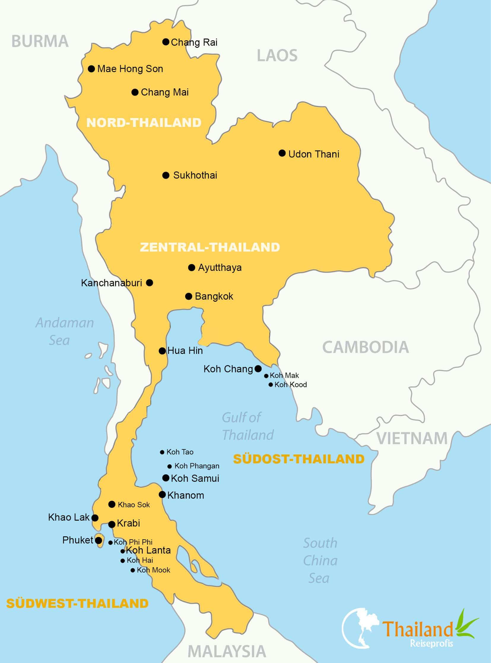 Karte Von Thailand Inkl Sehenswurdigkeiten
