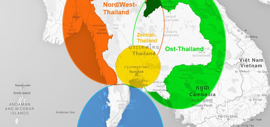 Thailand Reiseziele und Regionen